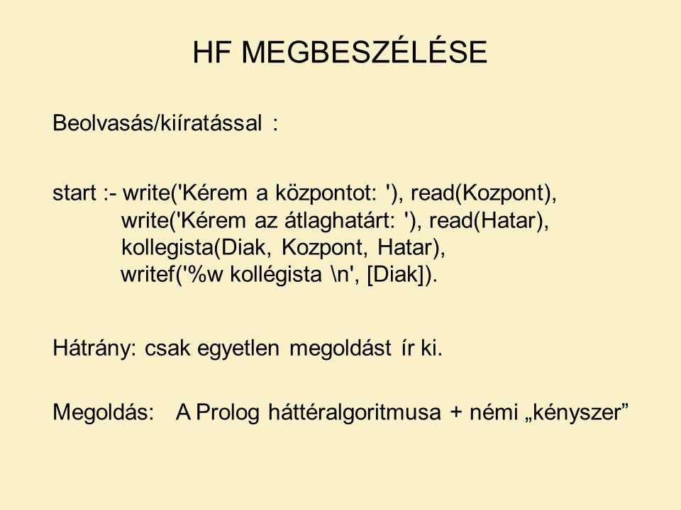 HF MEGBESZÉLÉSE Beolvasás/kiíratással :