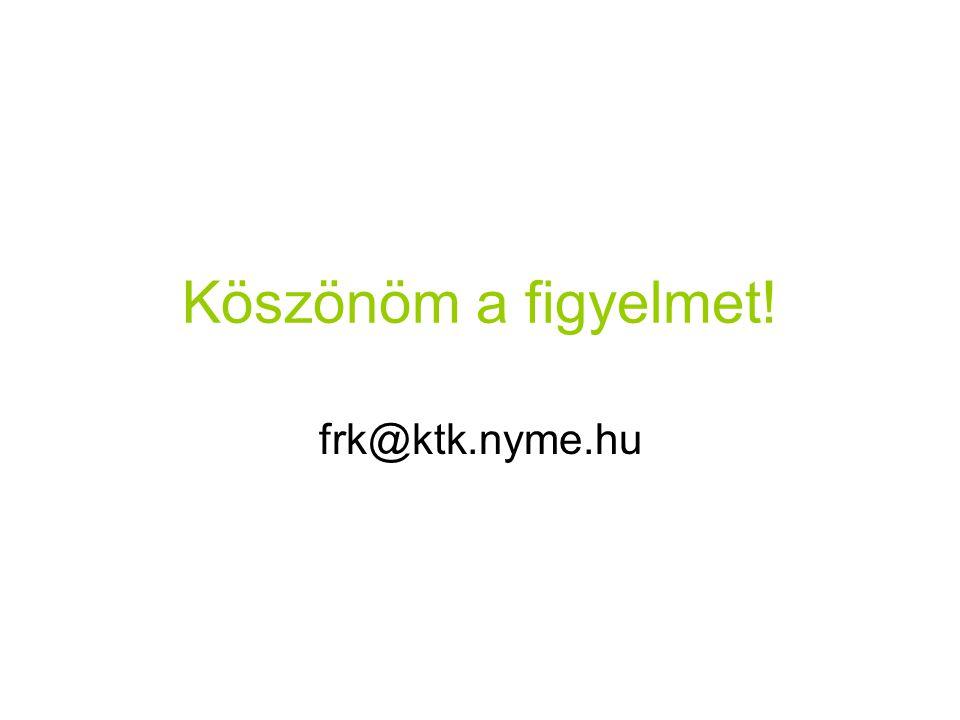 Köszönöm a figyelmet! frk@ktk.nyme.hu