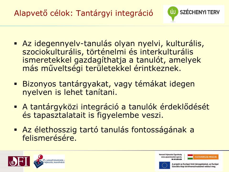 Alapvető célok: Tantárgyi integráció