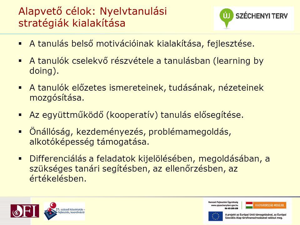 Alapvető célok: Nyelvtanulási stratégiák kialakítása