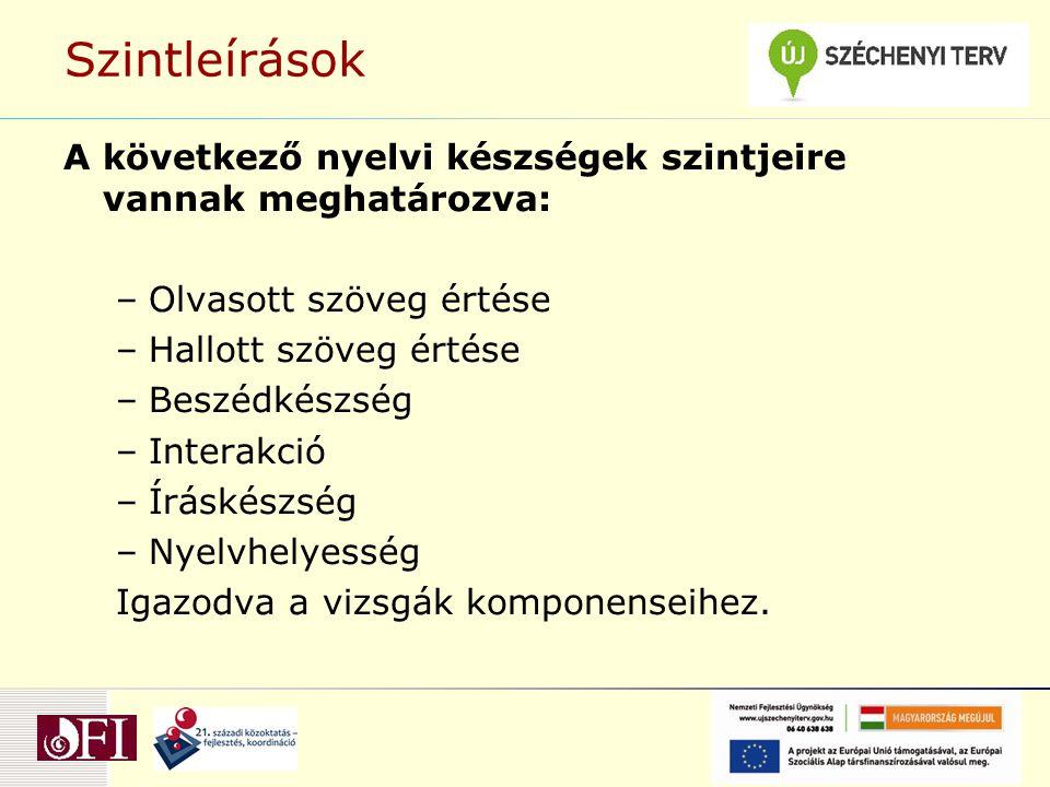 Szintleírások A következő nyelvi készségek szintjeire vannak meghatározva: Olvasott szöveg értése.