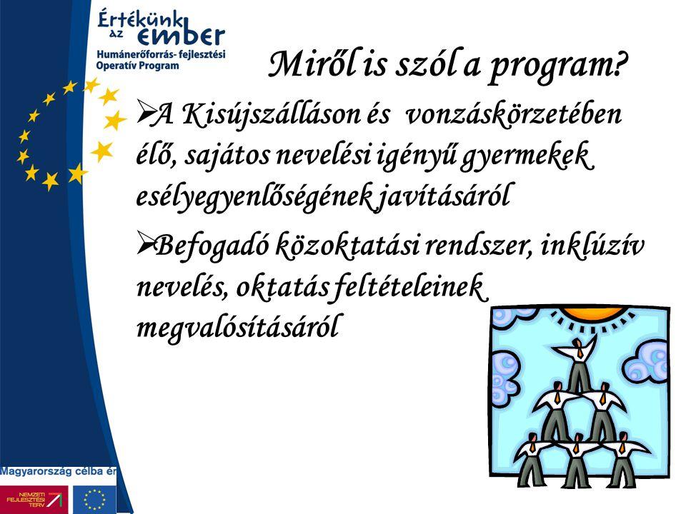 Miről is szól a program A Kisújszálláson és vonzáskörzetében élő, sajátos nevelési igényű gyermekek esélyegyenlőségének javításáról.
