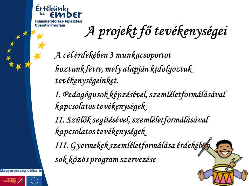 A projekt fő tevékenységei