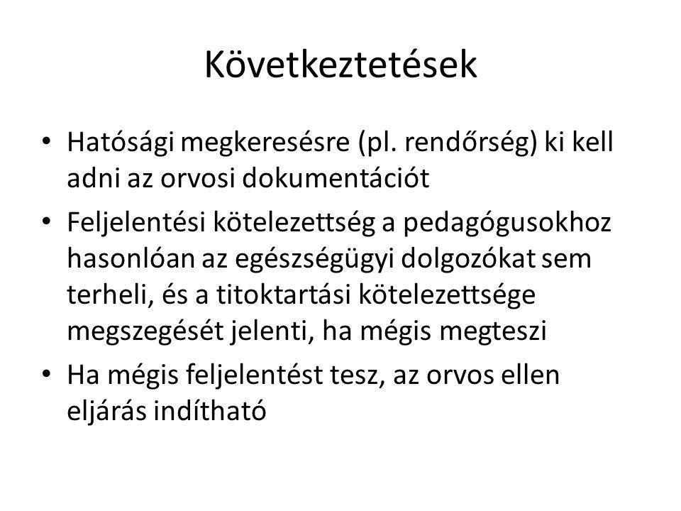 Következtetések Hatósági megkeresésre (pl. rendőrség) ki kell adni az orvosi dokumentációt.