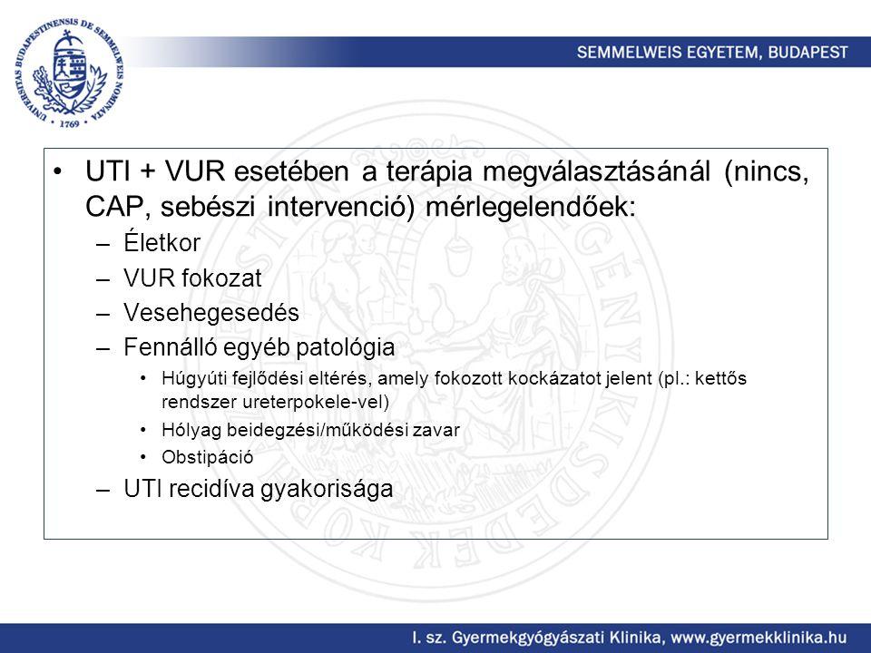 UTI + VUR esetében a terápia megválasztásánál (nincs, CAP, sebészi intervenció) mérlegelendőek: