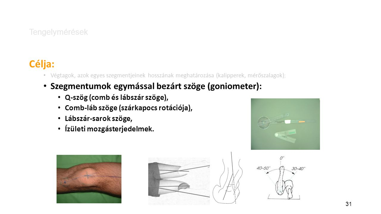 Célja: Szegmentumok egymással bezárt szöge (goniometer):