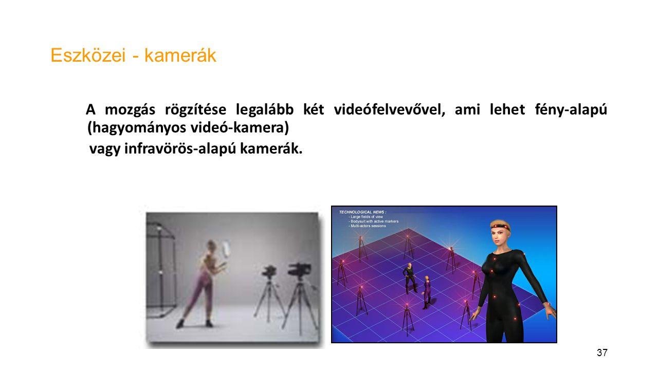 Eszközei - kamerák A mozgás rögzítése legalább két videófelvevővel, ami lehet fény-alapú (hagyományos videó-kamera)