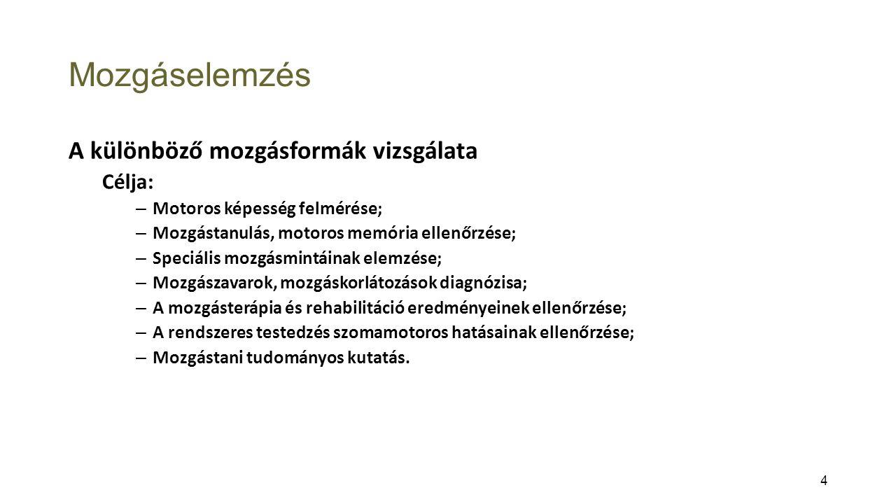 Mozgáselemzés A különböző mozgásformák vizsgálata Célja: