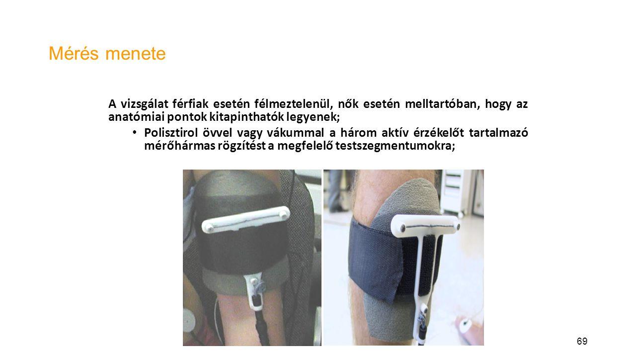 Mérés menete A vizsgálat férfiak esetén félmeztelenül, nők esetén melltartóban, hogy az anatómiai pontok kitapinthatók legyenek;