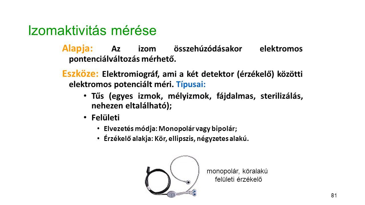 Izomaktivitás mérése Alapja: Az izom összehúzódásakor elektromos pontenciálváltozás mérhető.