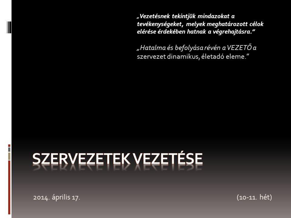 SZERVEZETEK VEZETÉSE 2014. április 17. (10-11. hét)