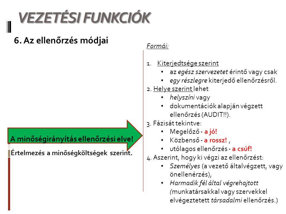 VEZETÉSI FUNKCIÓK 6. Az ellenőrzés módjai