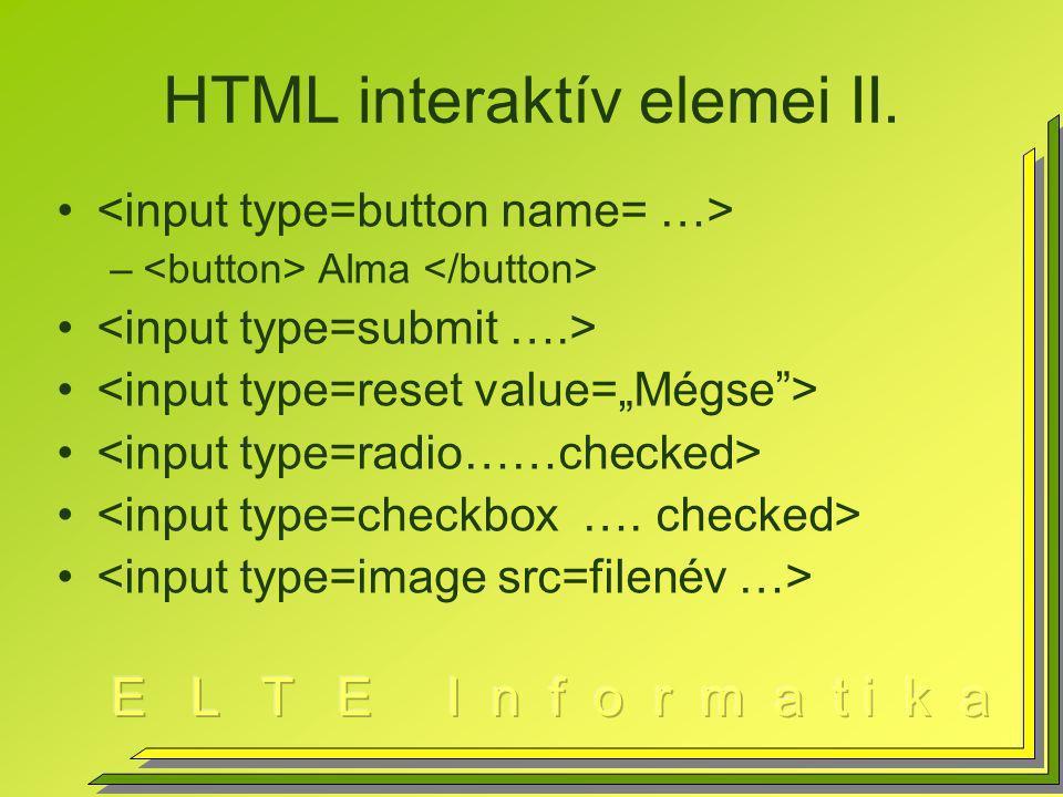 HTML interaktív elemei II.