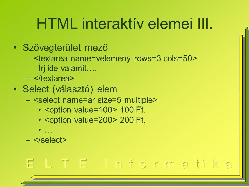 HTML interaktív elemei III.