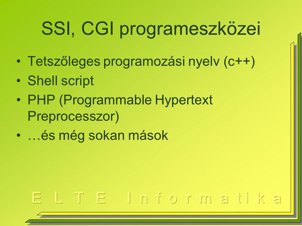 SSI, CGI programeszközei