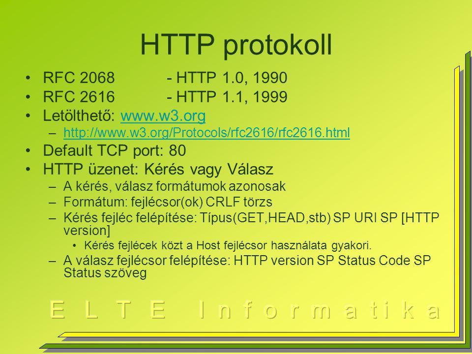 HTTP protokoll RFC 2068 - HTTP 1.0, 1990 RFC 2616 - HTTP 1.1, 1999