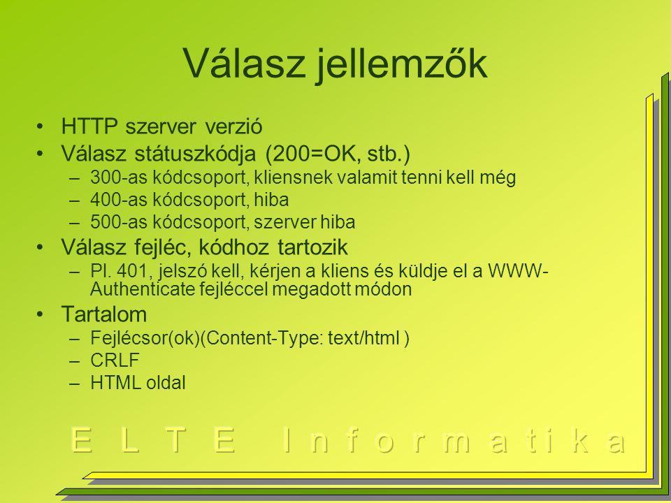 Válasz jellemzők HTTP szerver verzió