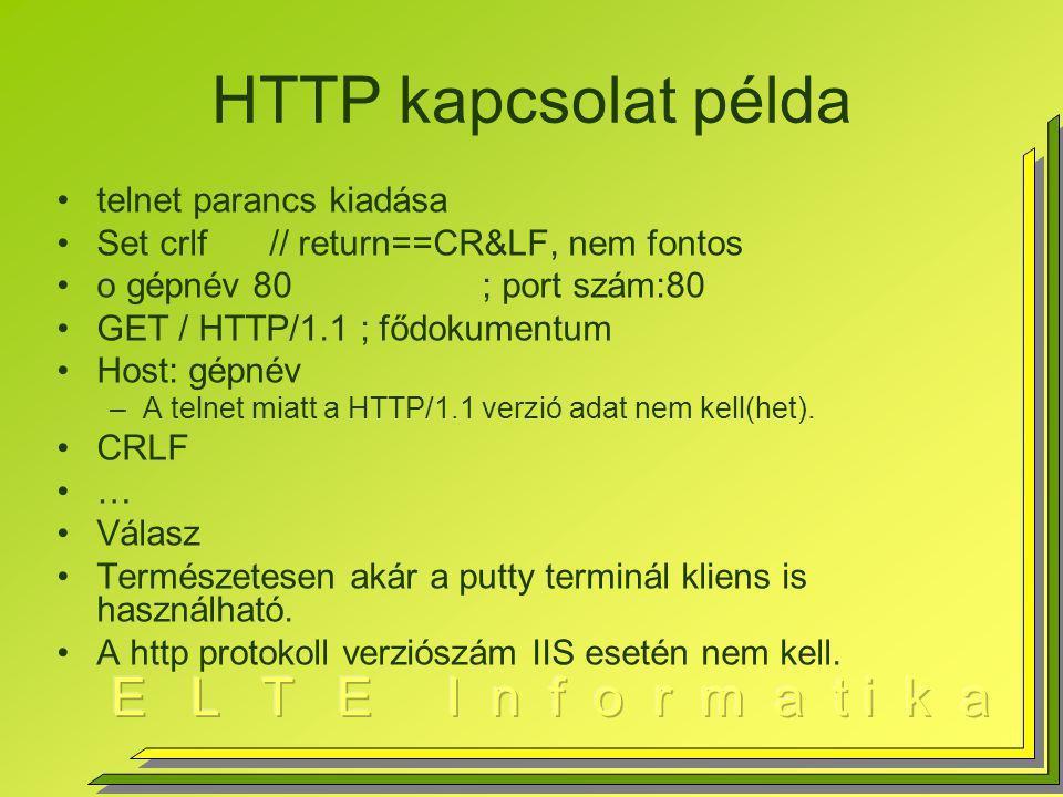 HTTP kapcsolat példa telnet parancs kiadása