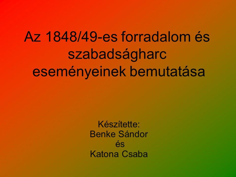 Az 1848/49-es forradalom és szabadságharc eseményeinek bemutatása