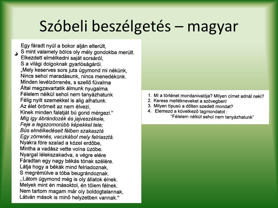 Szóbeli beszélgetés – magyar