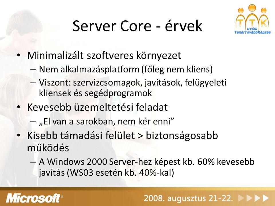 Server Core - érvek Minimalizált szoftveres környezet