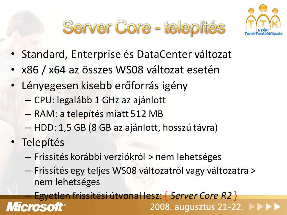 Server Core - telepítés