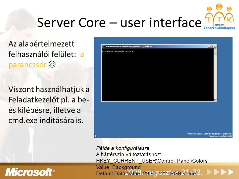 Server Core – user interface