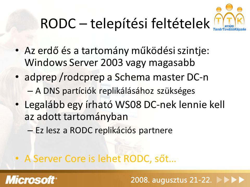 RODC – telepítési feltételek