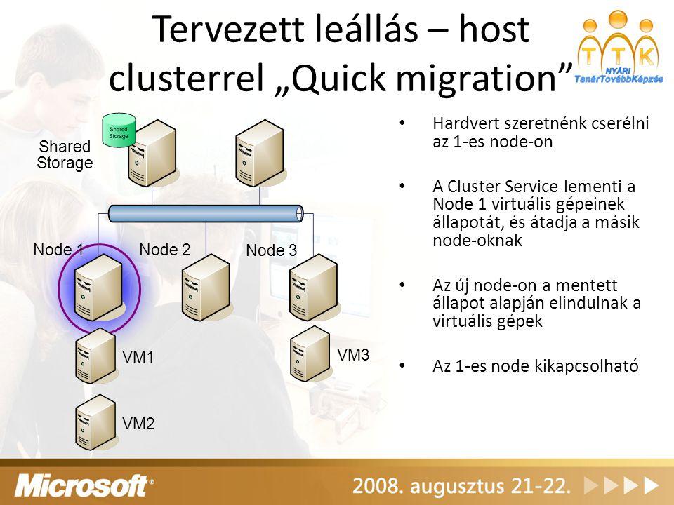 """Tervezett leállás – host clusterrel """"Quick migration"""