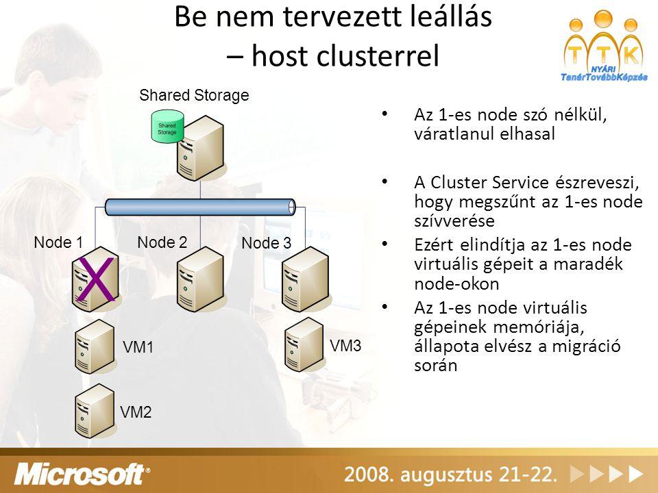 Be nem tervezett leállás – host clusterrel