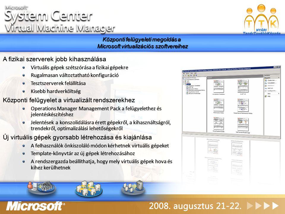 Központi felügyeleti megoldás a Microsoft virtualizációs szoftvereihez