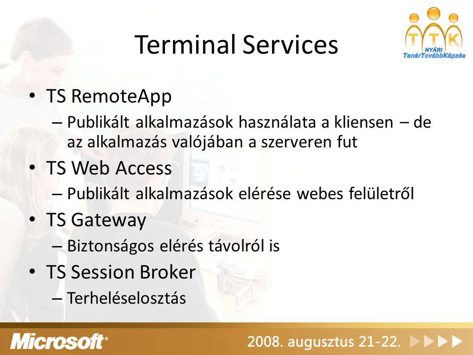 Terminal Services TS RemoteApp TS Web Access TS Gateway