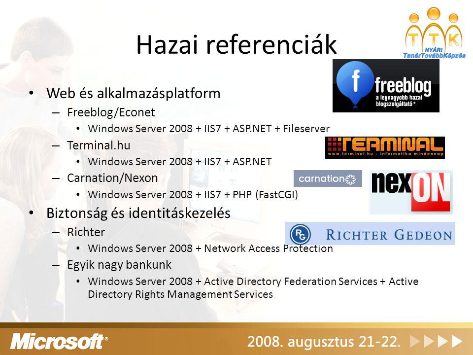Hazai referenciák Web és alkalmazásplatform