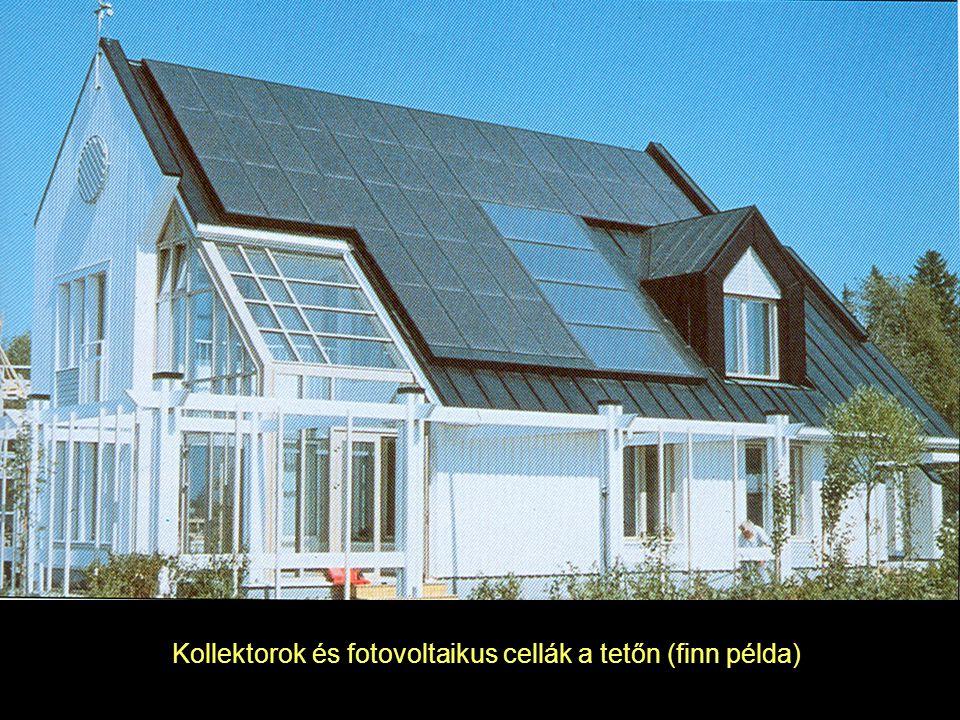 Kollektorok és fotovoltaikus cellák a tetőn (finn példa)