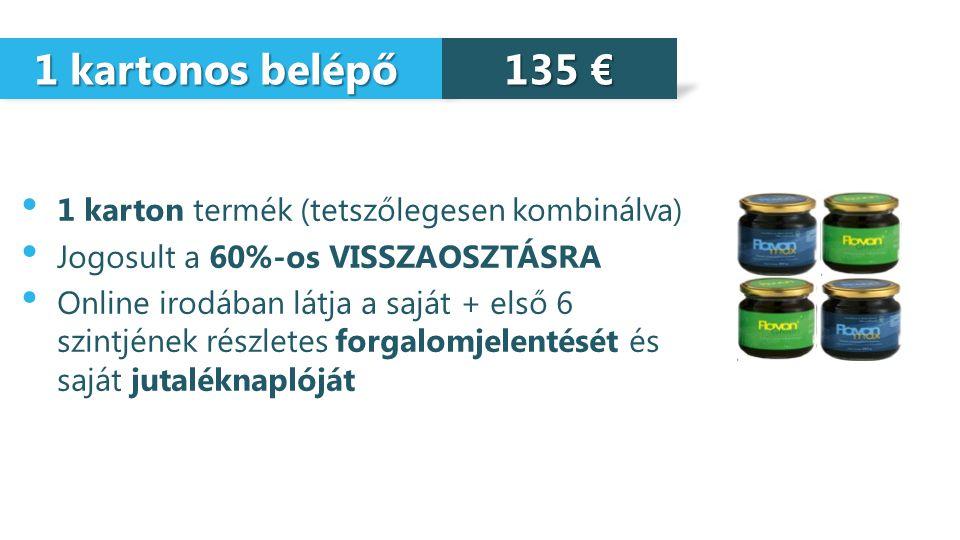 1 kartonos belépő 135 € 1 karton termék (tetszőlegesen kombinálva)