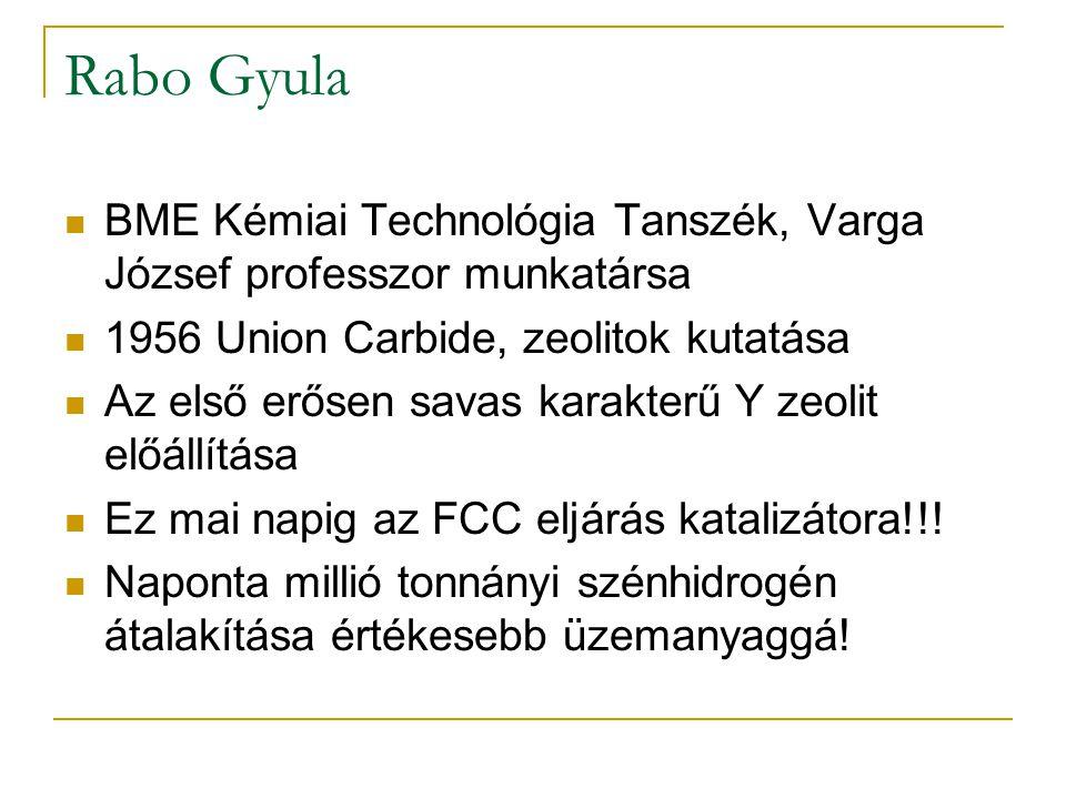 Rabo Gyula BME Kémiai Technológia Tanszék, Varga József professzor munkatársa. 1956 Union Carbide, zeolitok kutatása.