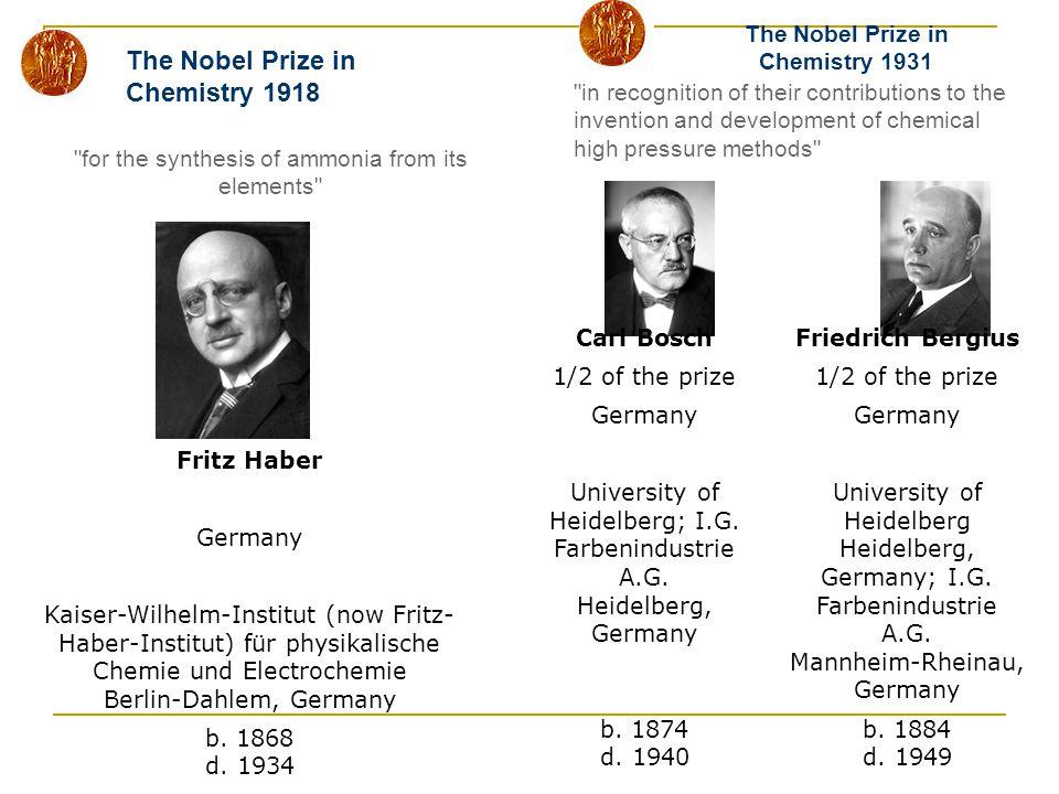 The Nobel Prize in Chemistry 1931