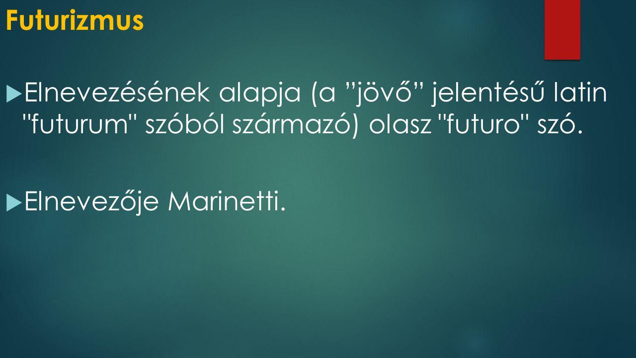 Futurizmus Elnevezésének alapja (a jövő jelentésű latin futurum szóból származó) olasz futuro szó.