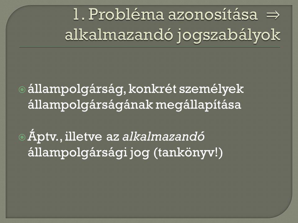 1. Probléma azonosítása ⇒ alkalmazandó jogszabályok