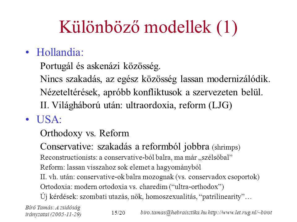 Különböző modellek (1) Hollandia: USA: Portugál és askenázi közösség.