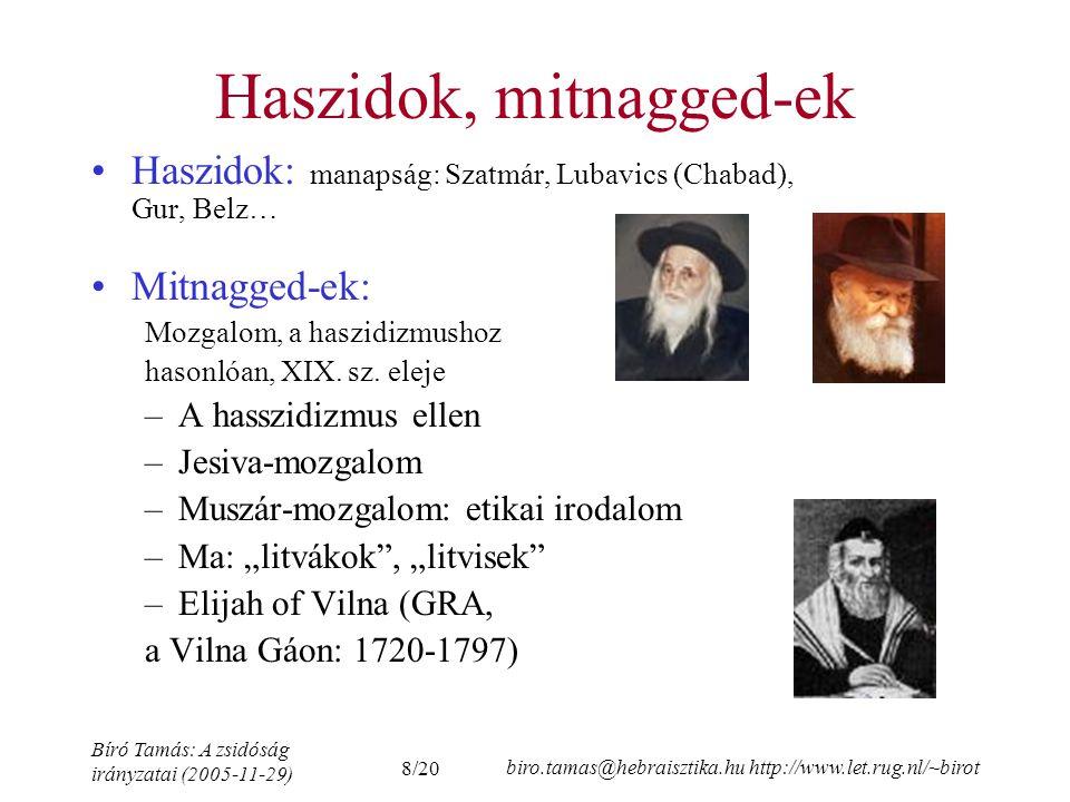 Haszidok, mitnagged-ek