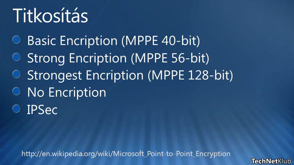 Titkosítás Basic Encription (MPPE 40-bit)