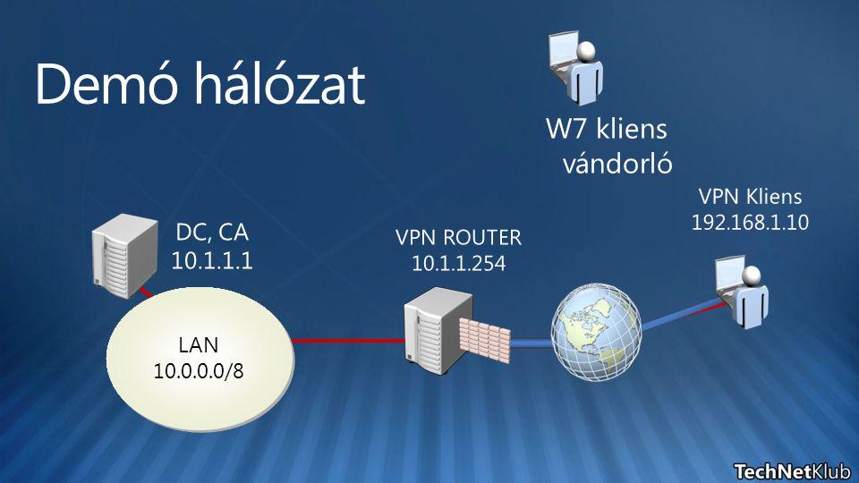 Demó hálózat W7 kliens vándorló DC, CA 10.1.1.1 VPN Kliens