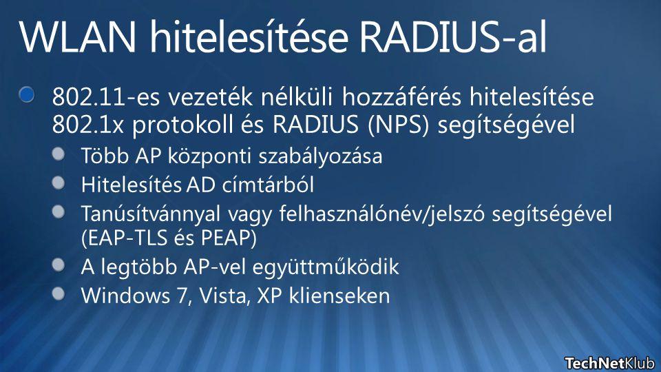 WLAN hitelesítése RADIUS-al