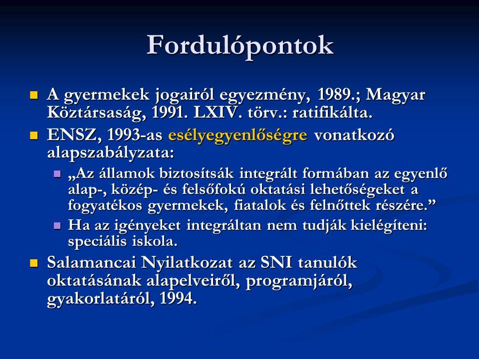 Fordulópontok A gyermekek jogairól egyezmény, 1989.; Magyar Köztársaság, 1991. LXIV. törv.: ratifikálta.