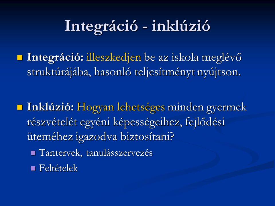 Integráció - inklúzió Integráció: illeszkedjen be az iskola meglévő struktúrájába, hasonló teljesítményt nyújtson.
