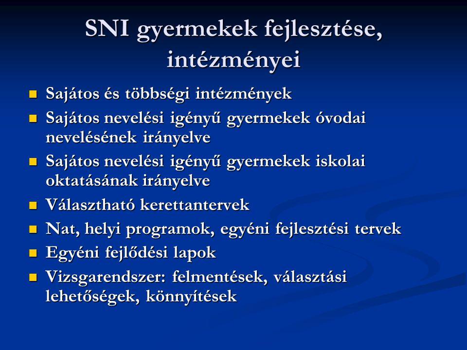 SNI gyermekek fejlesztése, intézményei