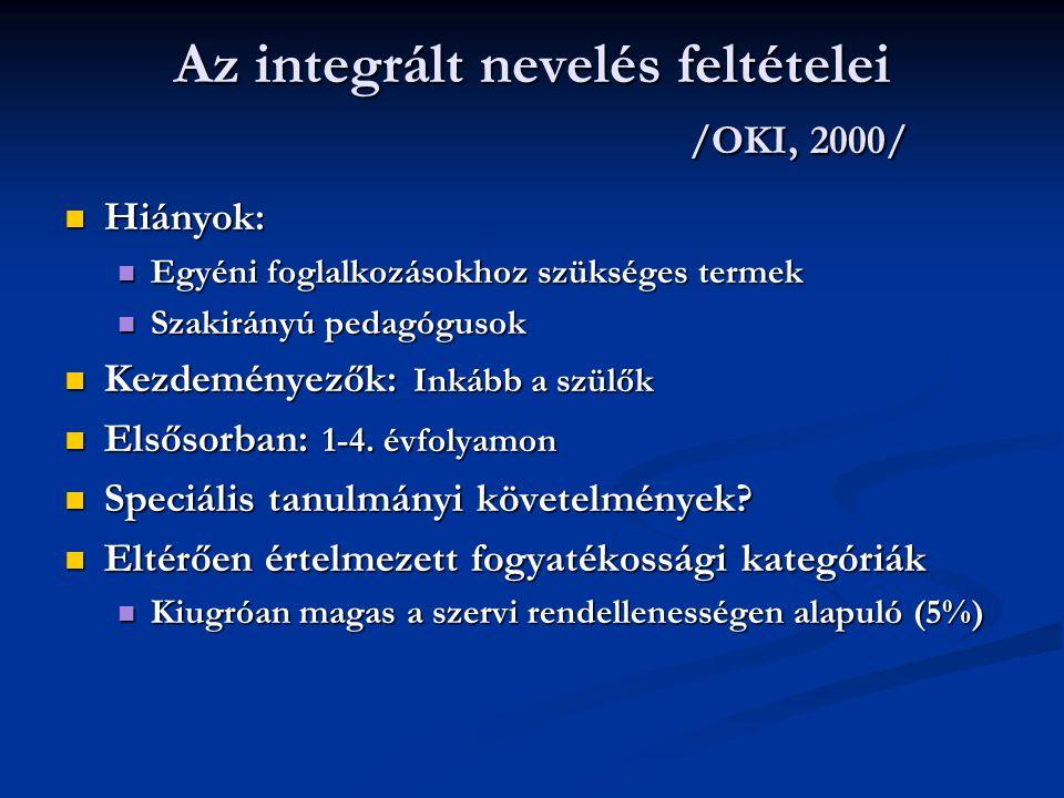 Az integrált nevelés feltételei /OKI, 2000/