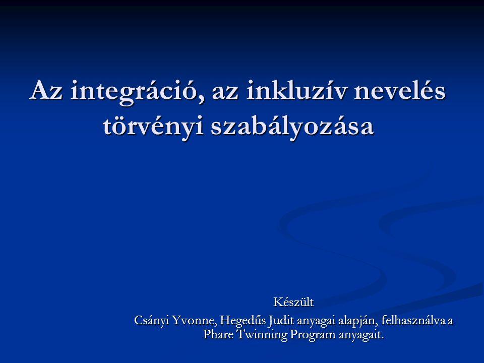 Az integráció, az inkluzív nevelés törvényi szabályozása