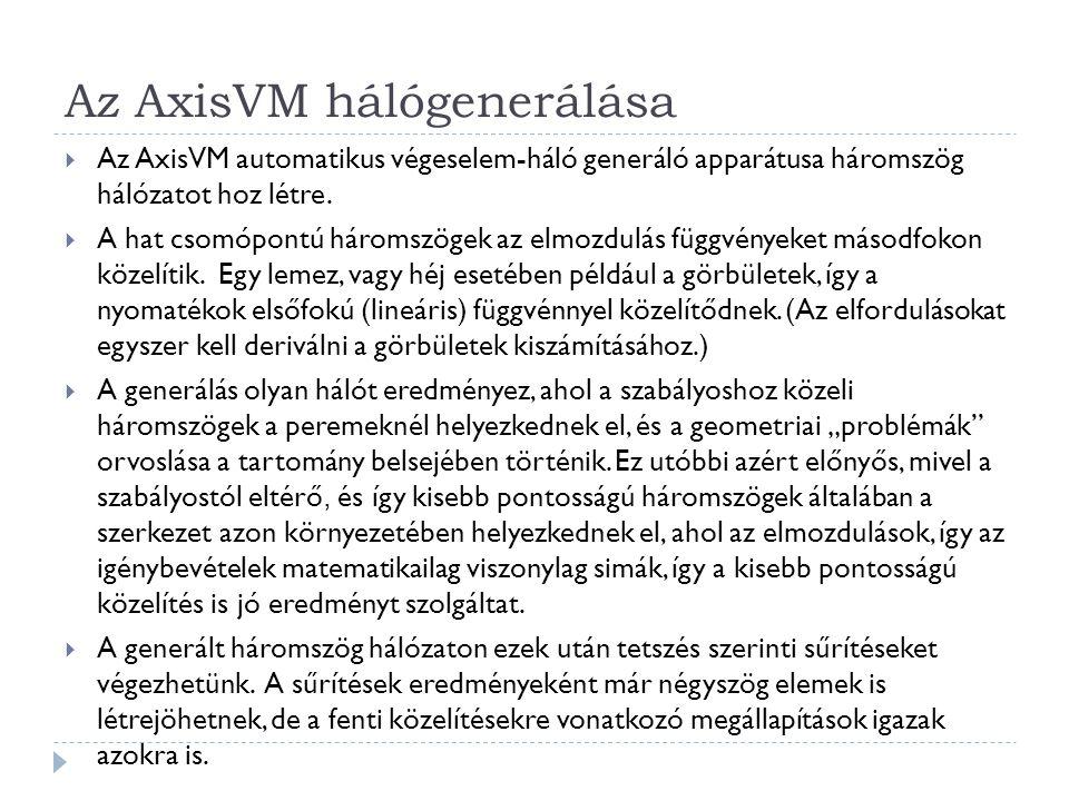 Az AxisVM hálógenerálása